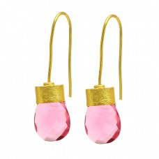 925 Sterling Silver Pink Quartz Gemstone Gold Plated Fixed Ear Wire Earrings