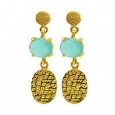 Oval Shape Aqua Chalcedony Gemstone 925 Sterling Silver Gold Plated Stud Earrings