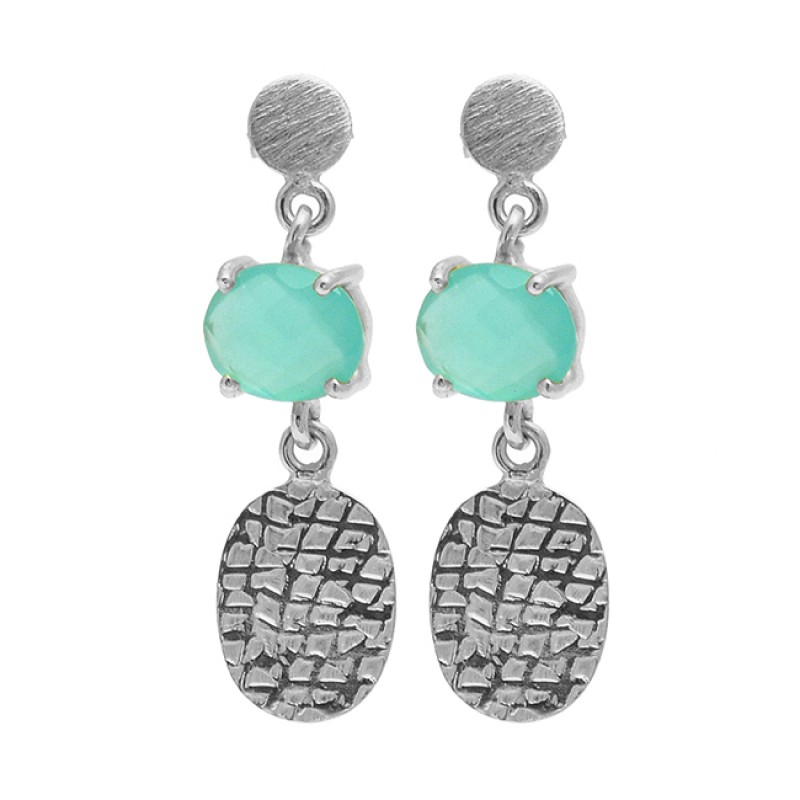 Oval Shape Aqua Chalcedony Gemstone 925 Sterling Silver Gold Plated Stud Earrings