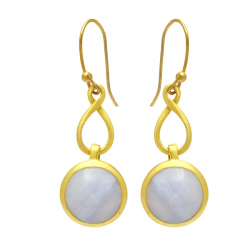 925 Sterling Silver Round Cabochon Flint Gemstone Gold Plated Dangle Earrings