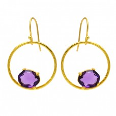 925 Sterling Silver Oval Shape Amethyst Gemstone Handmade Dangle Earrings