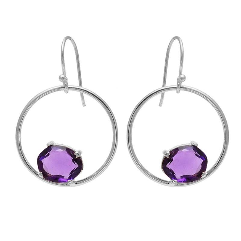 925 Sterling Silver Oval Shape Amethyst Gemstone Handmade Dangle Earrings