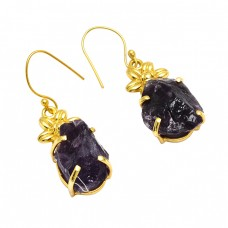 925 Sterling Silver Amethyst Rough Gemstone Gold Plated Designer Earrings