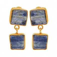 Blue Kyanite Rough Gemstone 925 Sterling Silver Gold Plated Dangle Stud Earrings