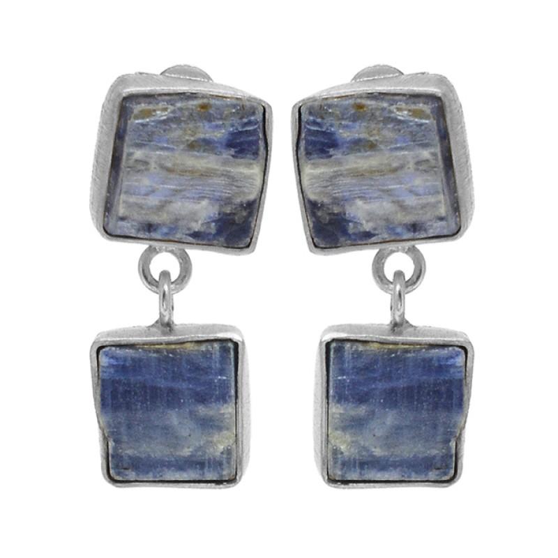 Blue Kyanite Rough Gemstone 925 Sterling Silver Gold Plated Dangle Stud Earrings