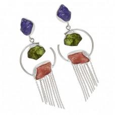 Raw Material Amethyst Peridot Rose Quartz Rough Gemstone 925 Silver Chain Dangle Earrings