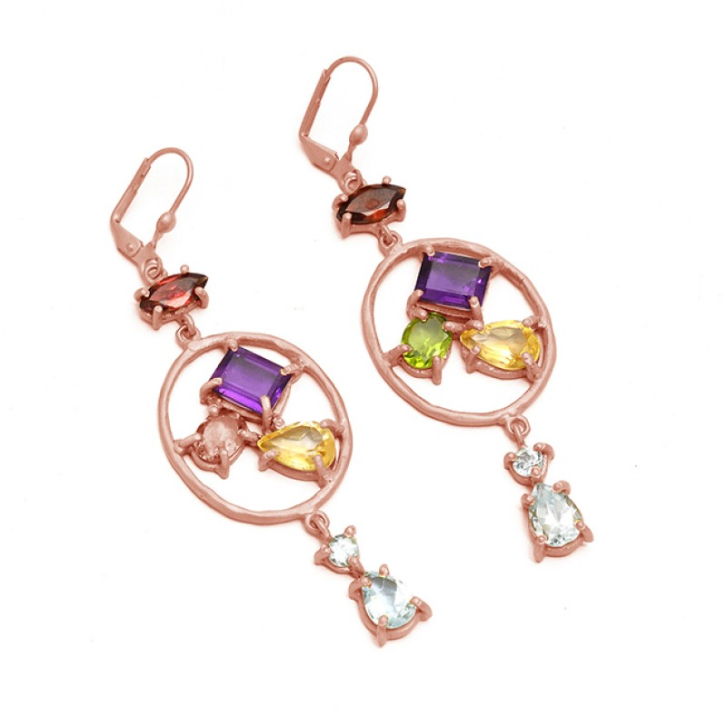 Multi Color Gemstone 925 Sterling Silver Gold Plated Clip-On Dangle Earrings