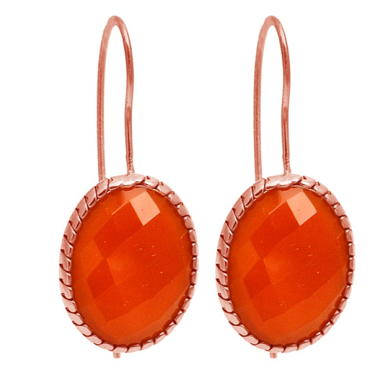 Oval Shape Carnelian Gemstone 925 Sterling Silver Gold Plated Fixed Ear Wire Earrings