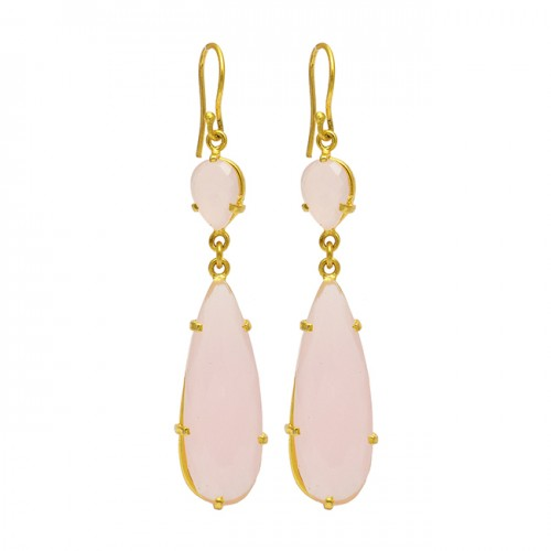 Pear Oval Shape Gemstone 925 Sterling Silver Gold Plated Prong Setting Dangle Earrings