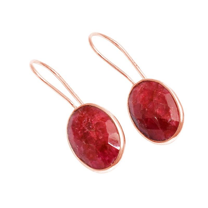 Bezel Setting Oval Shape Ruby Gemstone 925 Sterling Silver Fixed Ear Wire Earrings
