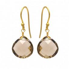Heart Shape Smoky Quartz Gemstone 925 Sterling Silver Gold Plated Dangle Earrings