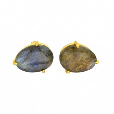 Prong Setting Oval Shape Labradorite Gemstone 925 Silver Gold Plated Stud Earrings