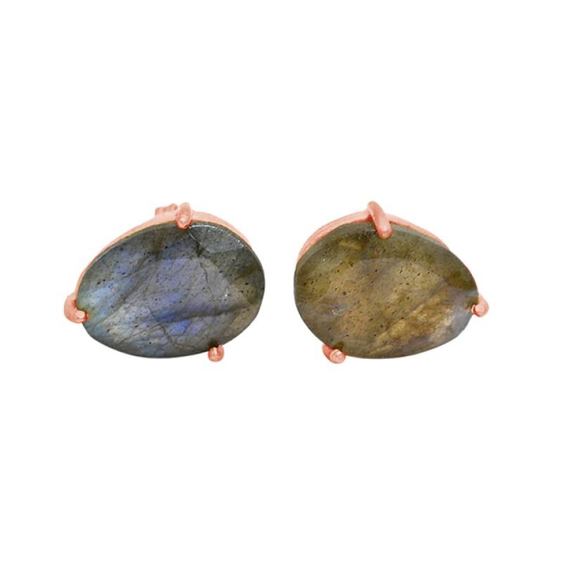 Prong Setting Oval Shape Labradorite Gemstone 925 Silver Gold Plated Stud Earrings