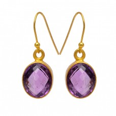 Oval Shape Amethyst Gemstone 925 Sterling Silver Gold Plated Dangle Earrings