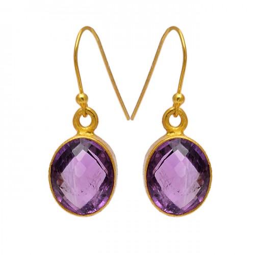Oval Shape Amethyst Gemstone 925 Sterling Silver Gold Plated Dangle Earrings