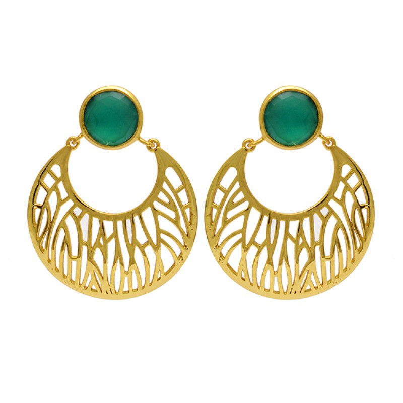Round Shape Green Onyx Gemstone 925 Sterling Silver Gold Plated Dangle Earrings
