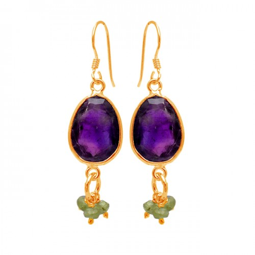 Amethyst Peridot Gemstone 925 Sterling Silver Handmade Designer Dangle Earrings