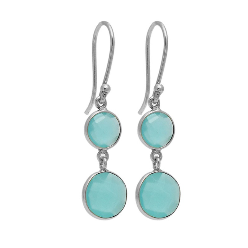 925 Sterling Silver Chalcedony Gemstone Gold Plated Bezel Setting Dangle Earrings