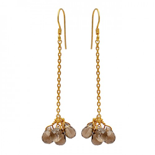 Pear Drops Shape Smoky Quartz Gemstone 925 Sterling Silver Gold Plated Chain Earrings
