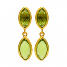 Marquise Shape Peridot Gemstone 925 Sterling Silver Gold Plated Stud Dangle Earrings