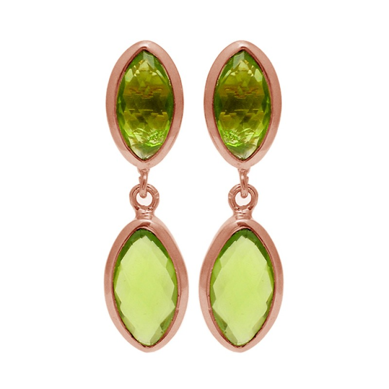 Marquise Shape Peridot Gemstone 925 Sterling Silver Gold Plated Stud Dangle Earrings