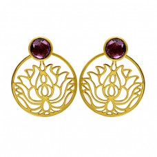 Garnet Round Shape Gemstone Filigree Designer Handmade Gold Plated Earrings