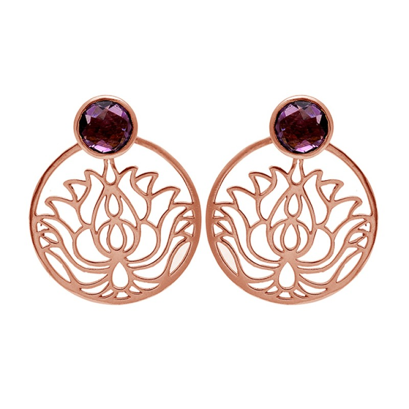 Garnet Round Shape Gemstone Filigree Designer Handmade Gold Plated Earrings