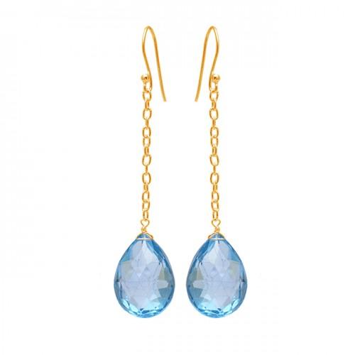 Blue Topaz Pear Shape Gemstone 925 Sterling Silver Dangle Chain Earrings