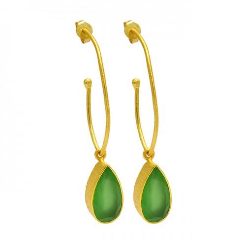 Prehnite Chalcedony Pear Shape Gemstone Gold Plated Handmade Hoop Earrings