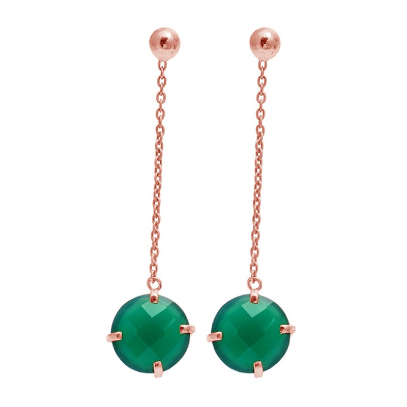 Briolette Round Green Onyx Gemstone Chain Gold Plated Dangle Stud Earrings
