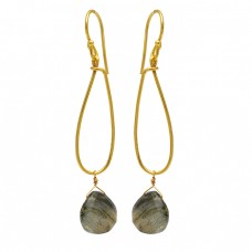 Pear Drops Shape Labradorite Gemstone 925 Sterling Silver Gold Plated Dangle Earrings