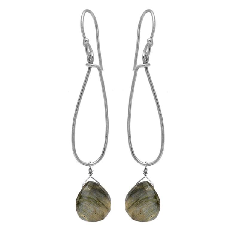 Pear Drops Shape Labradorite Gemstone 925 Sterling Silver Gold Plated Dangle Earrings