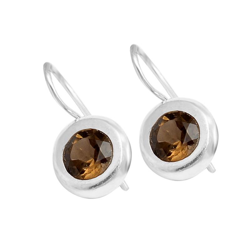 Smoky Quartz Round Gemstone Fixed Ear Wire 925 Sterling Silver Handmade Earrings