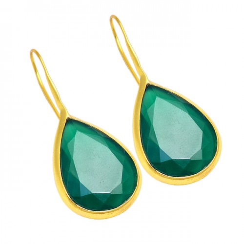 Emerald Pear Shape Gemstone 925 Sterling Silver Gold Plated Fixed Ear Wire Earrings
