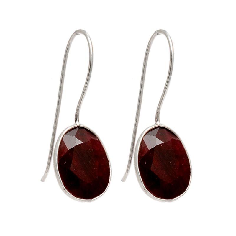 925 Sterling Silver Oval Shape Ruby Gemstone Fixed Ear Wire Handmade Earrings