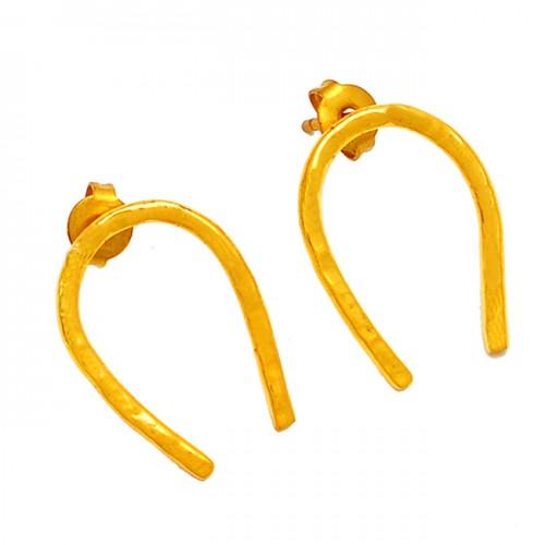 U Shape Designer Handmade Plain 925 Sterling Silver Gold Plated Stud Earrings