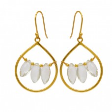 Marquise Shape Crystal Quartz Gemstone 925 Sterling Silver Gold Plated Dangle Earrings