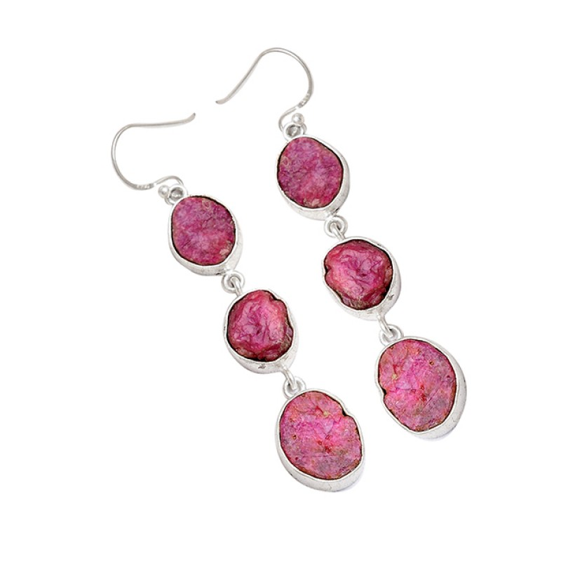 Ruby Rough Raw Material Gemstone 925 Sterling Silver Handcrafted Dangle Earrings