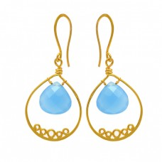 Aqua Chalcedony Heart Shape Gemstone 925 Sterling Silver Gold Plated Dangle Earrings