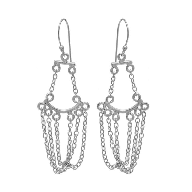 925 Sterling Silver Plain Designer Hanging Chain Dangle Gold Plated Earrings