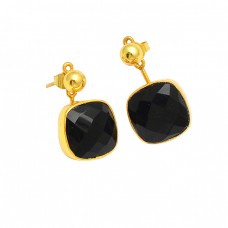 Black Onyx Cushion Shape Gemstone 925 Sterling Silver Gold Plated Stud Dangle Earrings