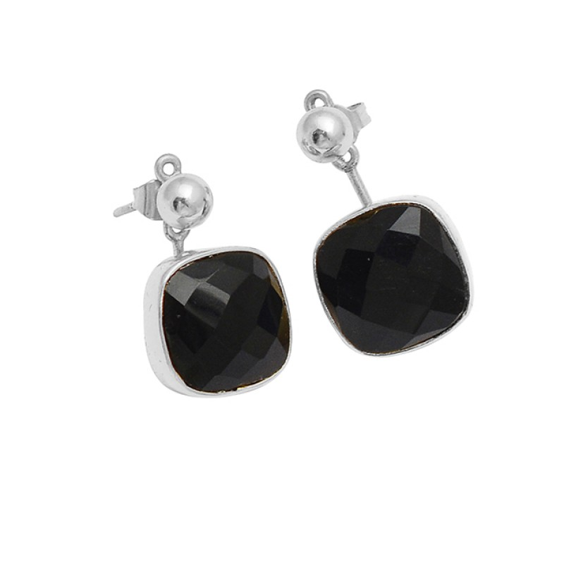 Black Onyx Cushion Shape Gemstone 925 Sterling Silver Gold Plated Stud Dangle Earrings