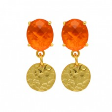 Oval Briolette Fanta Quartz Gemstone Hammered Gold Plated Stud Dangle Earrings