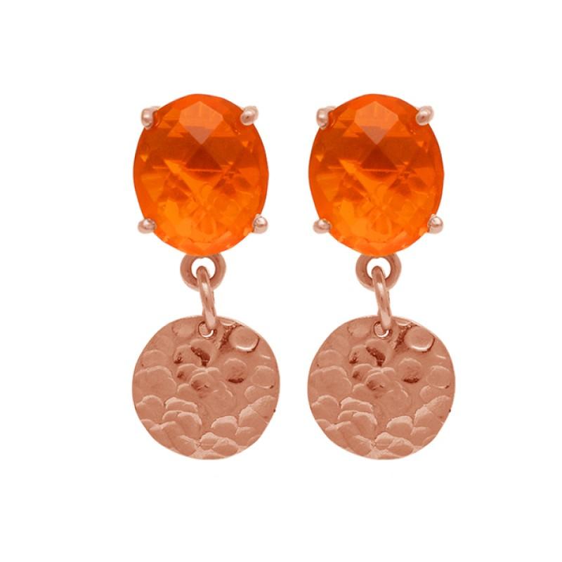 Oval Briolette Fanta Quartz Gemstone Hammered Gold Plated Stud Dangle Earrings