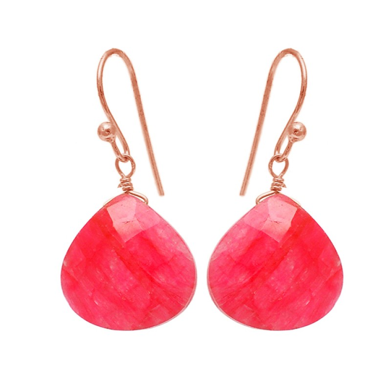 Briolette Heart Shape Ruby Gemstone 925 Sterling Silver Gold Plated Earrings