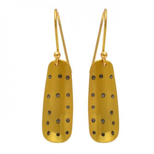 Handcrafted Designer Plain Designer 925 Sterling Silver Gold Plated Dangle Earrings