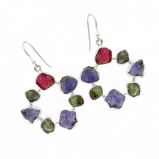 925 Sterling Silver Multi Color Rough Gemstone Handmade Designer Dangle Earrings