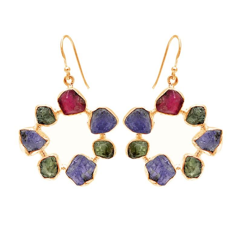 925 Sterling Silver Multi Color Rough Gemstone Handmade Designer Dangle Earrings