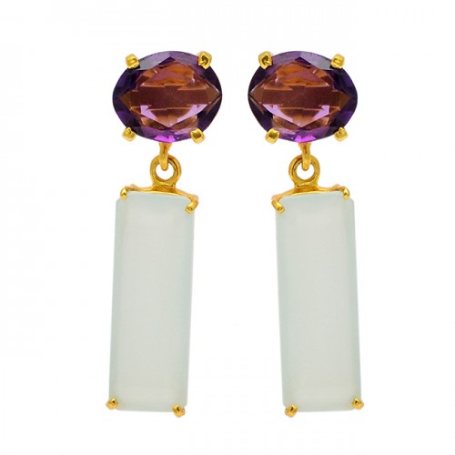 Prong Setting Amethyst Chalcedony Gemstone 925 Sterling Silver Gold Plated Earrings