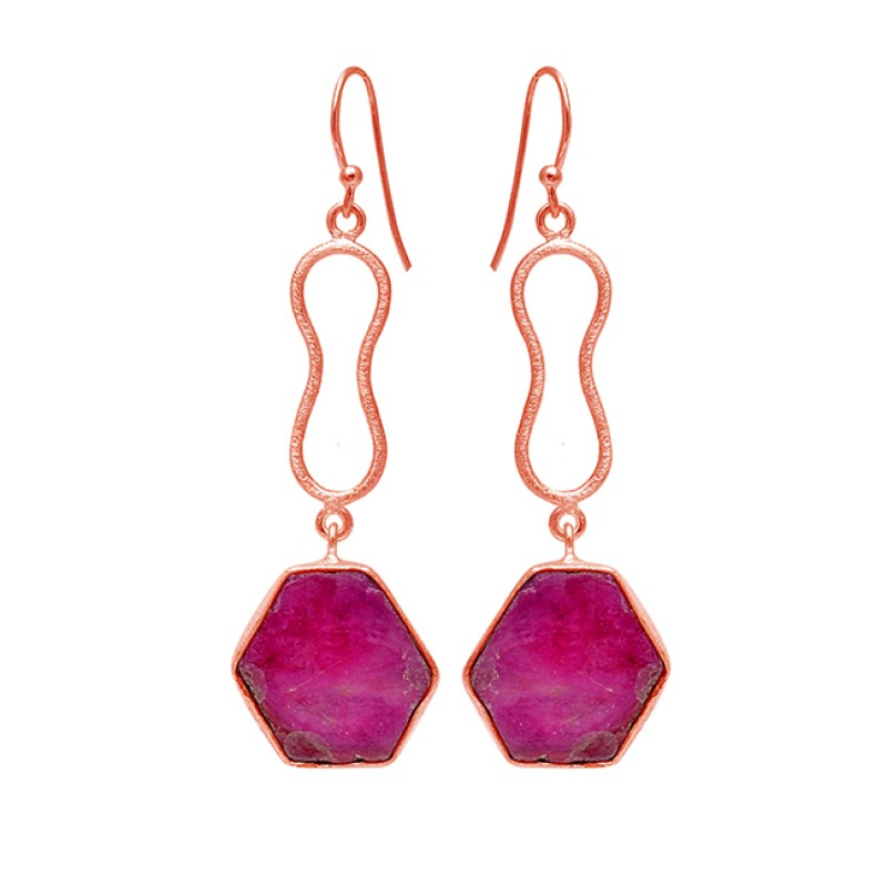 Hexagon Shape Red Ruby Gemtone 925 Sterling Silver Handmade Dangle Earrings